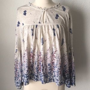 Lucky Brand Floral Swing BOHO Style Top